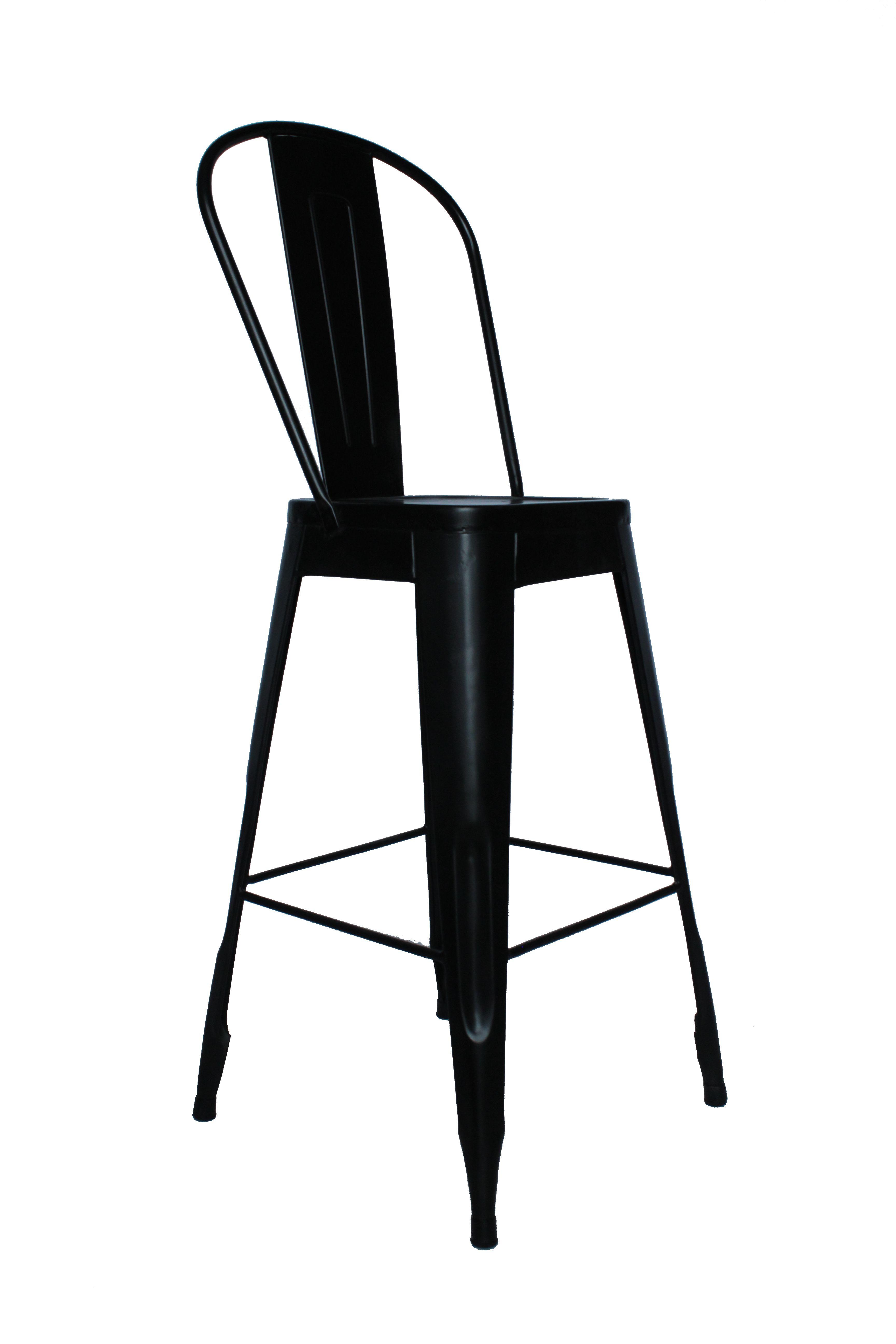 Krzesło Barowe Metalowe Industrialne Czarne Indigodecor