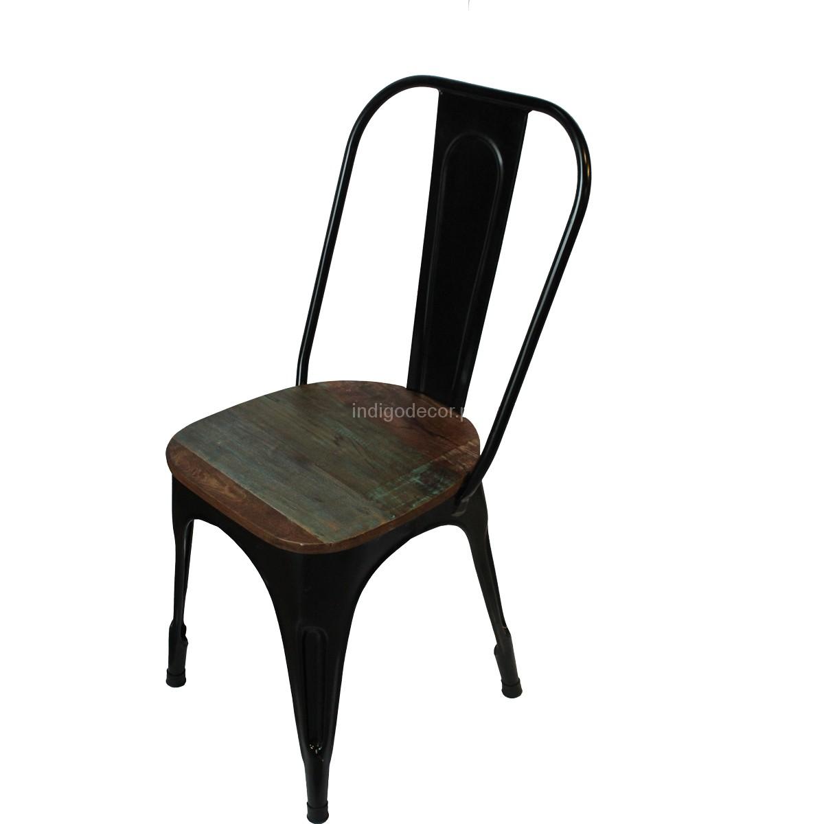Krzesło Metalowe Loftowe Czarne Indigodecor
