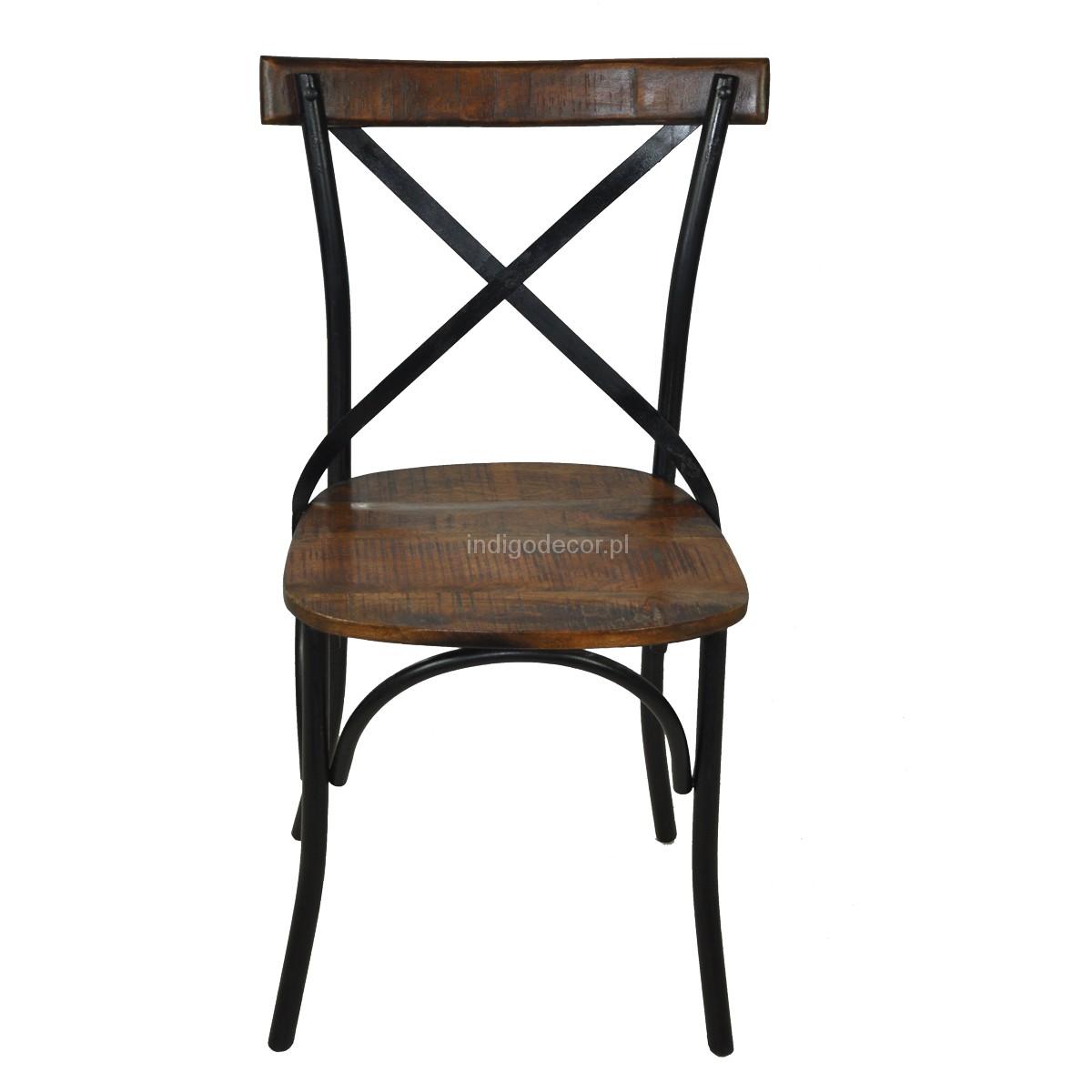 Krzesło Metalowe Prowansja Czarne Indigodecor