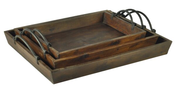 Taca drewniana 5 - komplet 3 sztuki