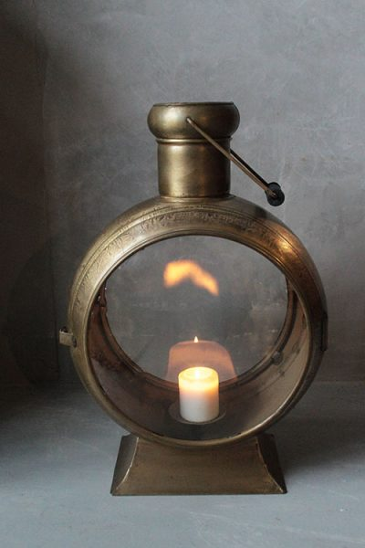 LAMPION METALOWY LOFTOWY ZŁOTY