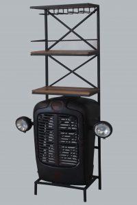 industralny bar pólka drewno metal