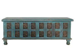 Skrzynia Drewniana Kufer Indyjski Blue