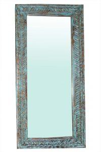 lustro drewnine ręcznie rzeźbione turkusowe (1)