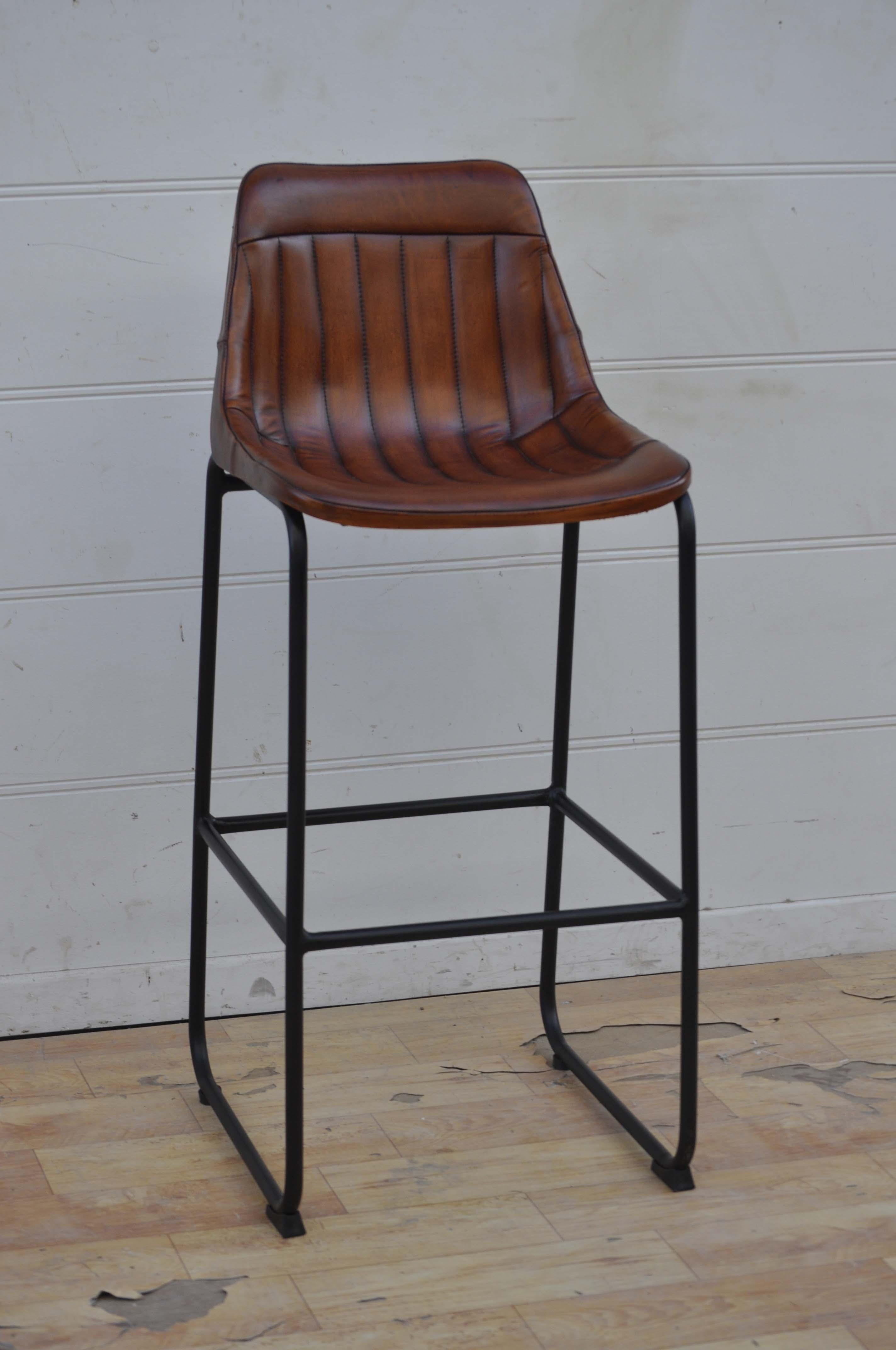 Krzesło Barowe Pikowane Skórzane