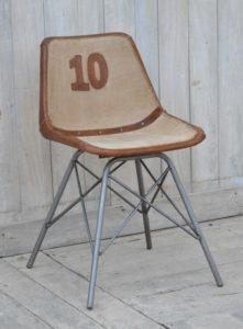 Krzesło loftowe lniane z elementami skórzanymi