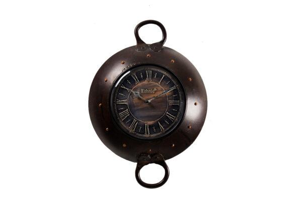 Industrialny zegar ścienny, metalowa misa