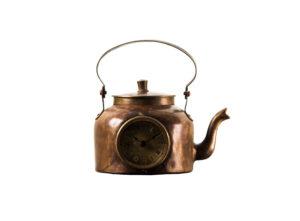 Industrialny zegar metalowy w kształcie czajnika