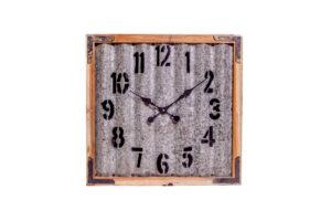 Zegar metalowy w drewnianej ramie FS-1744