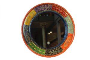 Lustro kolorowe drewniane indyjskie