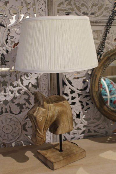 Lampa drewniana koń stołowa
