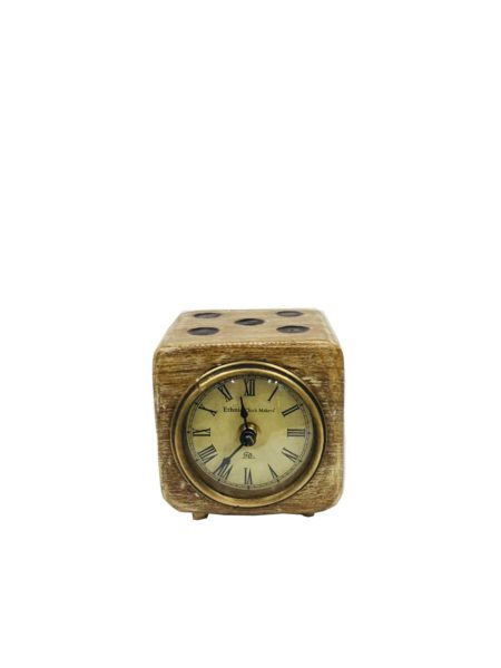 Zegar drewniany w kształcie kostki do gry FS-1713