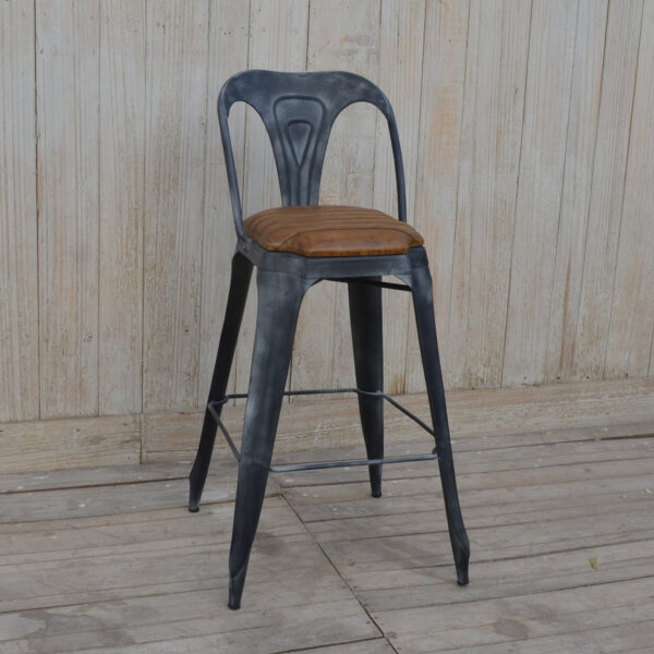 stołek barowy metal skóra